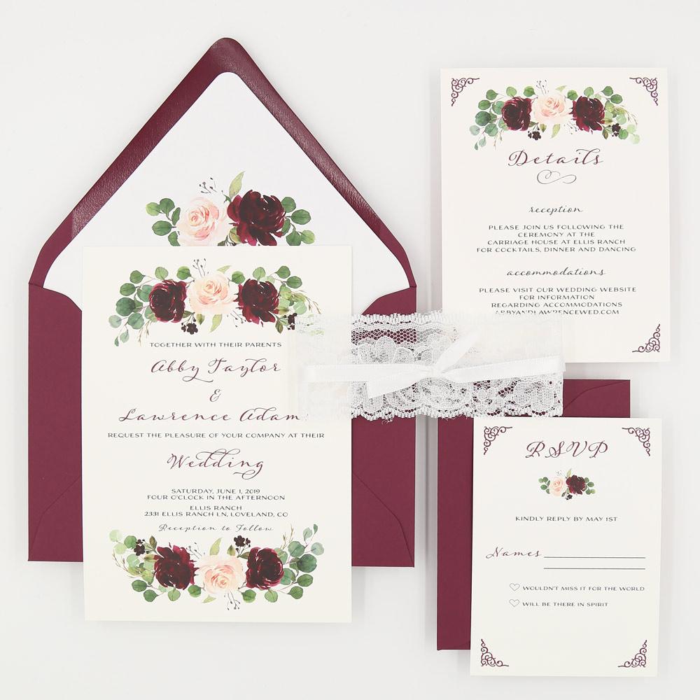 5 piece wedding invitation burgundy