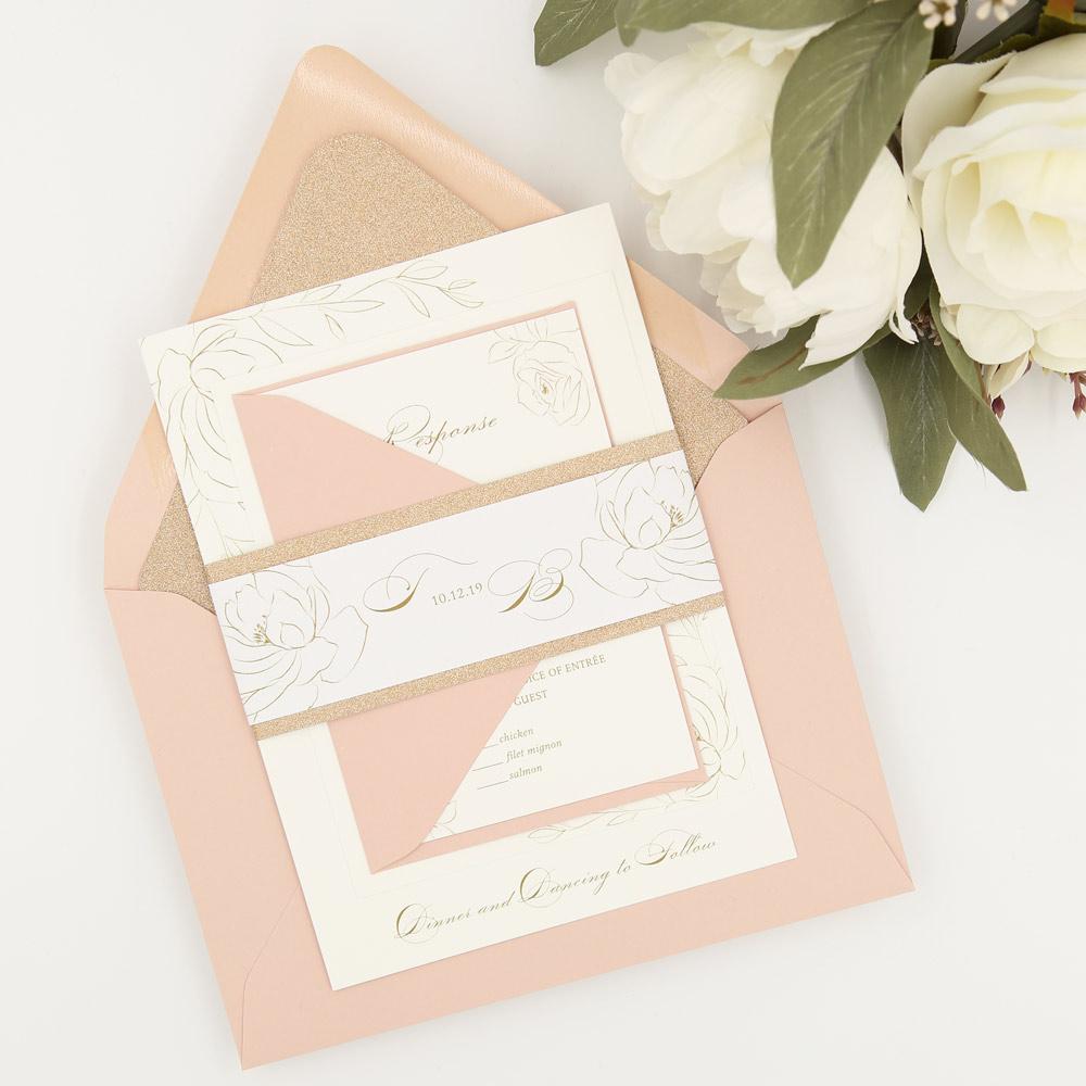 blush rose gold glitter wedding invitation