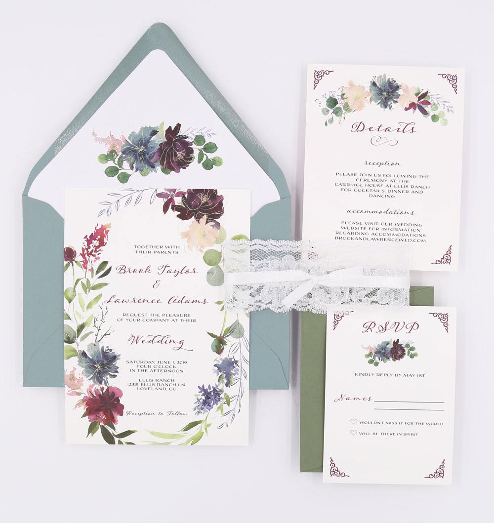 lace dusty blue wedding suite