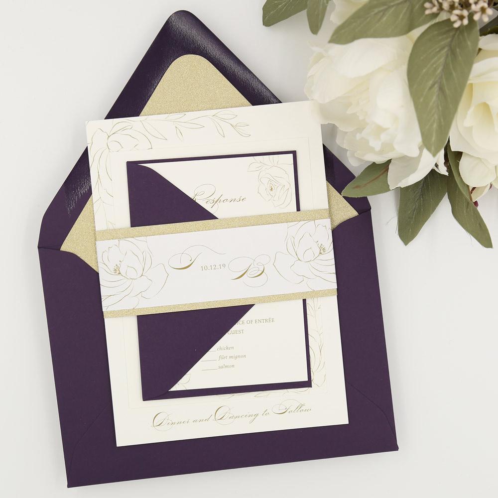 purple glitter wedding invite